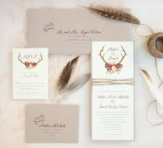 Rustic Antler Wedding Invitation Suite With Twine Wrap