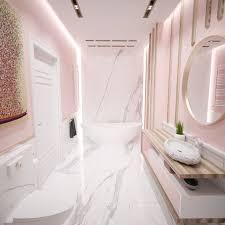 rosa badezimmer mit carrara marmor und holzdetails haus