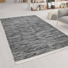 wohnzimmer teppich aus wolle und baumwolle handgewebtes flachgewebe braun weiß