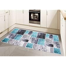 teppich modern flachgewebe gel läufer küchenteppich küchenläufer karo muster türkis grau creme größe 80x150 cm