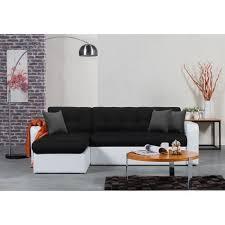 canapé d angle réversible convertible 4 places tissu noir