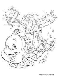 Princess Ariel Sebastian And Flounder Coloring Page