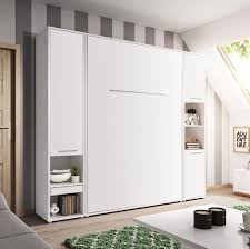 mirjan24 schlafzimmer set concept pro vertical wandklappbett und 2 regale bettschrank wandbett mit lattenrost weiß matt weiß matt cp 01