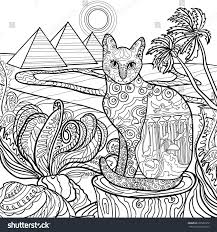 Cat Coloring Page Design In Egypt Style Vintage Hand Drawn Egyptian