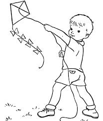 Kid Playing Kite Spring Coloring Page