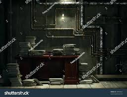 Office Space Basement Grunge With Desk And Lots Of Stacked Files As Concept For Slave Check