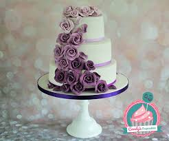 3 Tier Ombre Purple Wedding Cake