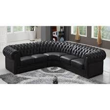 canapé d angle de qualité canapé d angle capitonné cuir chesterfield noir achat vente