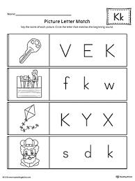 Picture Letter Match Letter K Worksheet