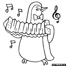 Penguin Accordion Coloring Page Color Instrument