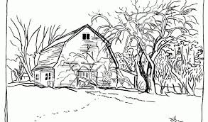 Nature Fall Landscape Coloring Pages To Download Also Print With House And Tree Printable For Free