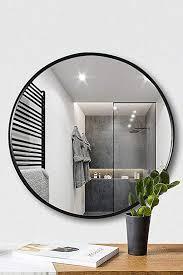 tinytimes wandspiegel aus holz rund groß sauber dekorativ für waschräume wohnzimmer badezimmer und mehr runder wandspiegel 23 63 inch schwarz