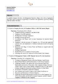 Best Company Secretary Resume Page 1