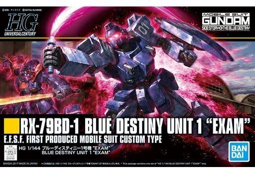 "Bandai Hguc Blue Destiny Unit 1 ""Exam"" Gundam Model Kit - 1/144 scale"