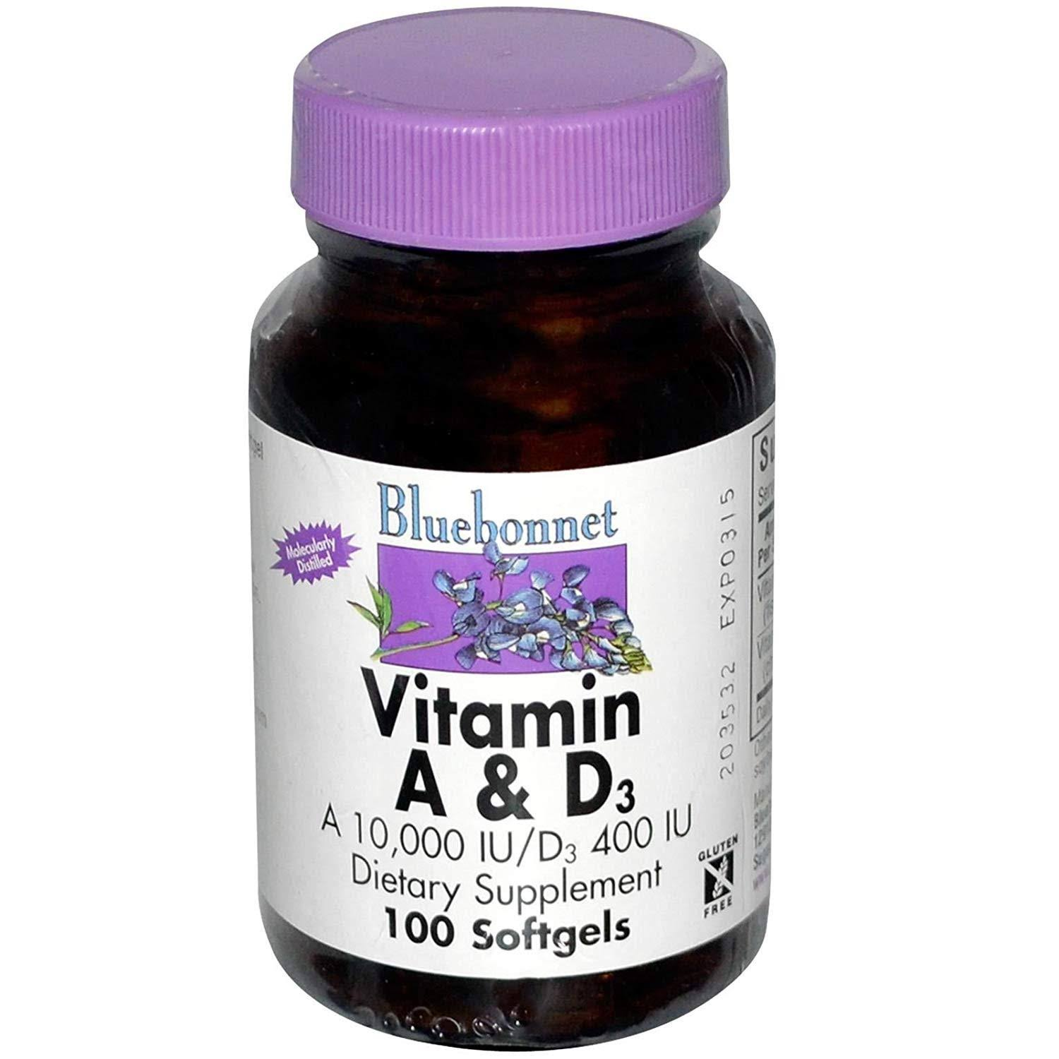 Bluebonnet Vitamin A and D3 - 100 Softgels