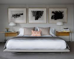 Bedroom Art Studio Ideas Transitional With Pictures Above Bed Modern Bedside Table Lighting Picture Rail