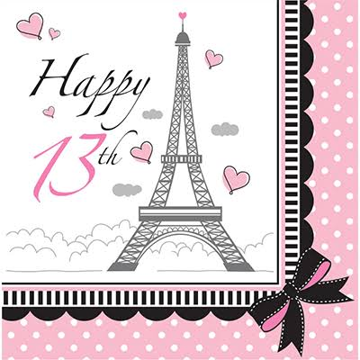 Creative Converting 13th Party in Paris Lunch Napkins - Pink and Black, 18ct