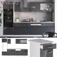 vicco küche r line 300 cm anthrazit hochglanz