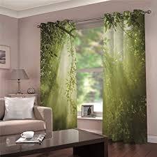 lovexoo verdunkelungsvorhänge wohnzimmer modern 2er set grüner wald gardine für kinderzimmer schlafzimmer schlafzimmer 75b x h166cm