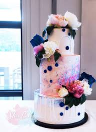 Modern Watercolour Wedding Cake