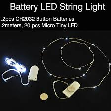 mini led light string battery powered with 60 cool white led