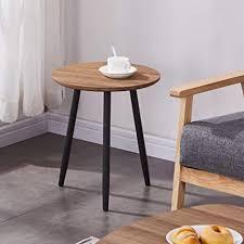 goldfan beistelltisch holz rund modern kleiner runder couchtisch für schlafzimmer wohnzimmer büro braun 40cm