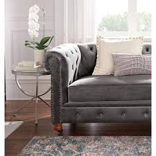 home decorators collection gordon grey velvet loveseat 0849500120