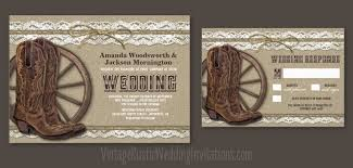 Country Rustic Burlap And Lace Wedding Invitations With Cowboys Boots A Wagon Wheel Design