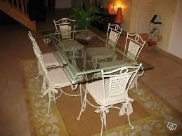 table fer forgé blanc 6 chaises