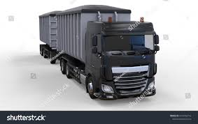 100 Bulk Truck And Transport Large Black Truck With Separate Trailer For Transportation Of
