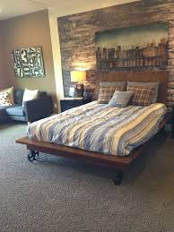 Classic Low Barn Wood Master Bed Frame With Sectional Couch As Well Grey Carpet And Wall Rustic Bedroom Schemes