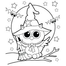 Full Image For Free Printable Witch Coloring Pages Owl Picture 1 Halloween