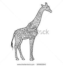 Giraffe Coloring Book For Adults Raster Illustration Anti Stress Adult Zentangle