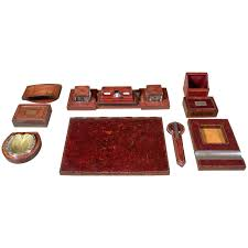 Leather Desk Blotters And Accessories by Paul Dupré Lafon Hermes Leather Desk Set For Sale At 1stdibs