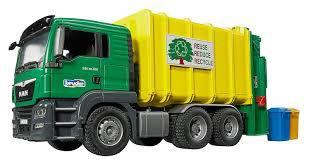 100 Rubbish Truck Bruder MAN TGS Rear Loading Garbage Green Yellow