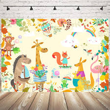 Amazoncom Mocsicka Animal World Theme Party Backdrop 7x5ft Vinyl