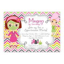 Kids Spa Party Invitations Girls Birthday