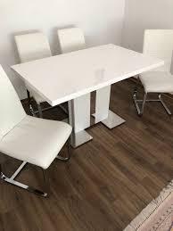 esstisch mit 4 stühlen weiß hochglanz in 60433 frankfurt am
