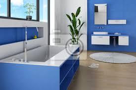 fototapete moderne badezimmer interieur mit blauen möbeln und wand
