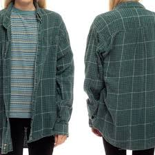 90s Plaid Shirt Green Flannel Grunge Button Up Faded Black Retro 1990s Lumberjac