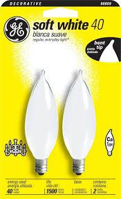 ge 48405 40 watt soft white bent tip light bulb candelabra base