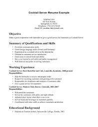 Resume Waitress Example