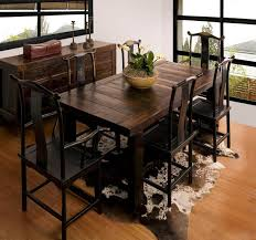 Rustic Wooden Dining Room Tables Country Style Sets Brown Leather Chairs Solid Wood Chair Area Fiber Floor Carpet Tile
