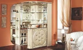bar möbel eck wohnzimmer bar theke spiegel eco leder front hochglanz italienisch