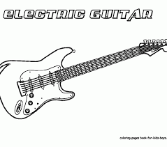 Guitar Colouring Pages Grand Coloring Guitars Free Electric Draw