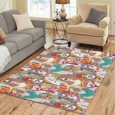 InterestPrint Home Decoration Cute Hispter Pug Puppy Dog Art Area Rug Cover 7 X 5