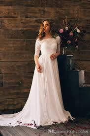 Discount 2017 A Line Boho Wedding Dresses Lace Top Chiffon Skirt