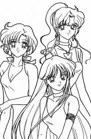 Ami Makoto And Rei Coloring Page Sailor Moon Sheets
