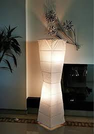trango 1209 modern design stehle handmade reispapier le in weiß eckig mit kurvigen form stehleuchte 125cm hoch wohnzimmer deko le