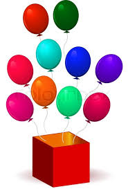 Open box with balloons Vector illustration Isolated on white background Transparency and gra nt mesh not used Stock Vector